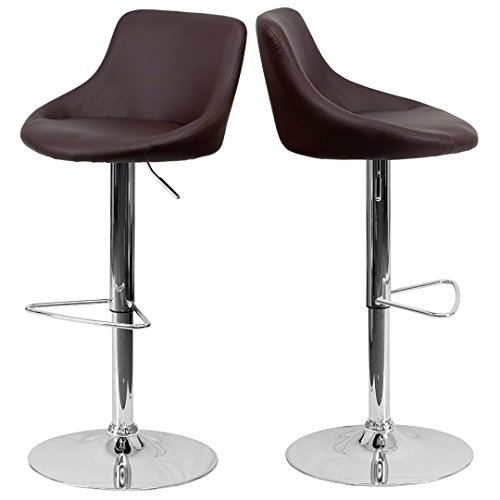 - Modern Design Bar Stool Bucket Seat Design Hydraulic Adjustable Height 360-Degree Swivel Seat Sturdy Steel Frame Chrome Base Dining Chair Bar Pub Stool Home Office Furniture - Set of 2 Brown #1985