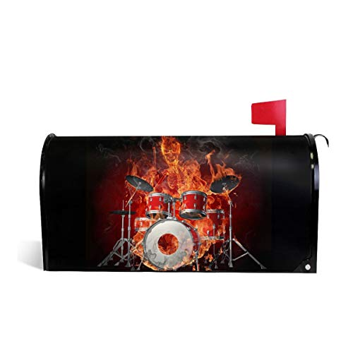 KIIKISS HUG Rock Roll Drums Flame Drummer Skull Magnetic Mailbox Cover Covers Standard Size 21x18 in]()
