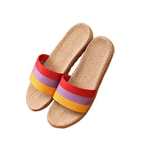 TELLW Linen Slippers couple indoor wood flooring cotton linen anti-slip thick bottom summer slippers for men and women Orange Purple Red TcC73ebiF