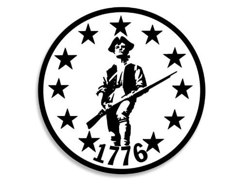 New England Patriots 4x6 Rug (MAGNET Round B/W Minute Man Patriot 1776 Patriotic Magnetic Sticker)