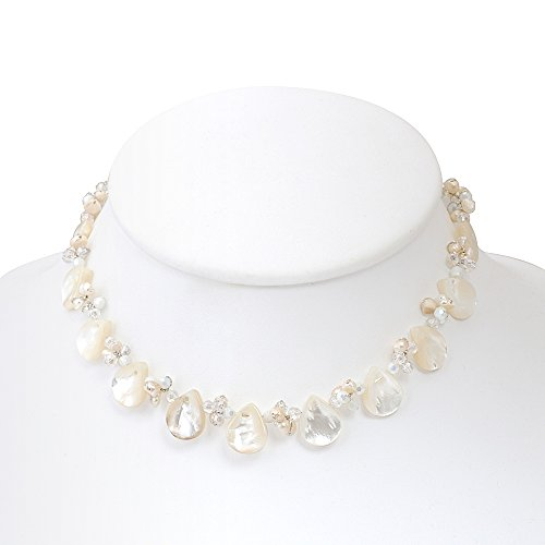 White Mother of Pearl and Cultured Freshwater Pearl Clear Crystal Beads Necklace, 16-18 inches