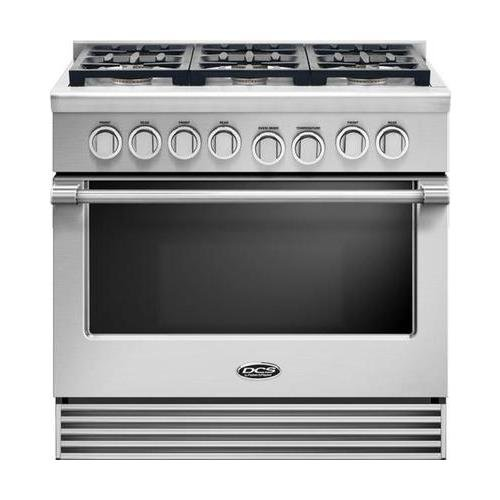 DCS RGV2366N 36″ Natural Gas Range with 6 Sealed Dual Flow Burners 5.3 Cu. Ft. Oven Capacity Convection Bake and Flat Vent Trim: Stainless