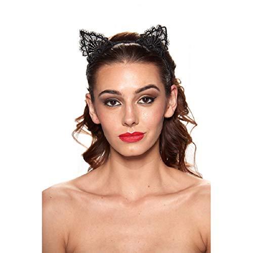 Kitten Ears Lace Headband (Black)]()