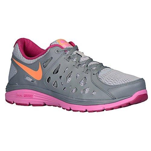 Nike Women's Dual Fusion Run 2 WLF Gry/ATMC Orng/Cl Gry/Rd Vl Running Shoe 6 Women US