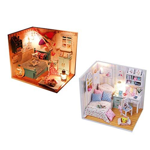 NATFUR 2 Set DIY Handcraft Miniature Project Kit Wooden Dolls House LED A + B Room