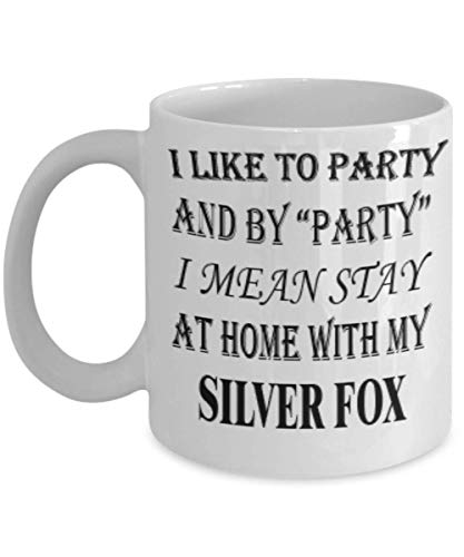 Funny Silver Fox Gifts 11oz Coffee Mug - I Mean Stay At Home - Best Inspirational Gifts and Sarcasm Rabbits Lover ak4108