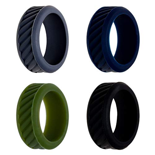 TUF Silicone Wedding Ring for Men, Hypoallergenic Safety Ring, Rubber Wedding Band for Him, Medical Grade Exercise Ring - Pack of 4, Available in Grey, Navy Blue, Olive Green, Black (Size 11)