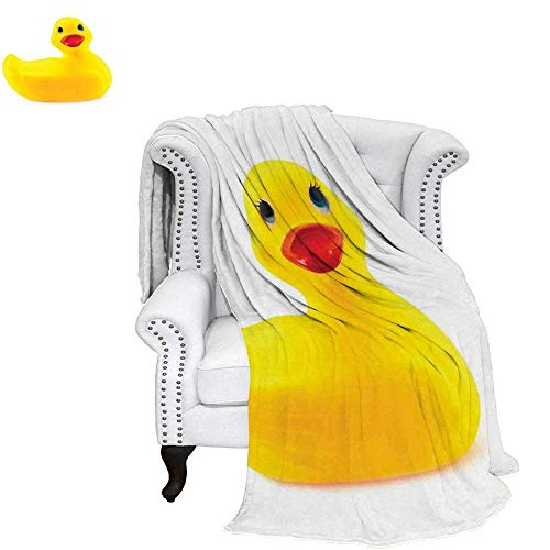 WilliamsDecor Rubber Duck Throw Blanket Yellow Squeak Ducky Toy Fun Bubble Bath Animal Kids Room Duckling Print Warm Microfiber All Season Blanket for Bed or Couch 60