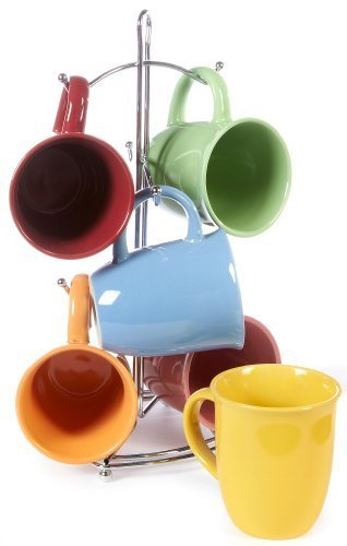 Color Curve Mug with Metal Rack (Assorted) by Gibson - Curve Mug