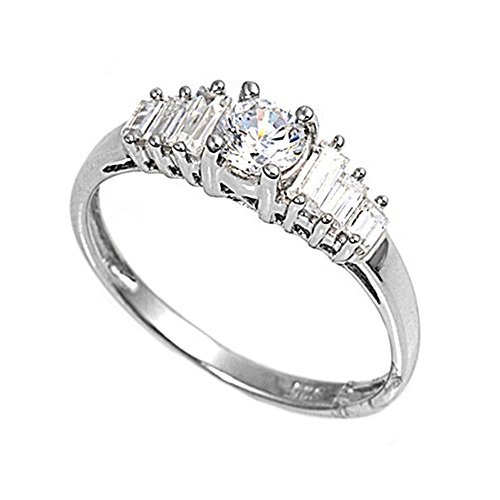 Sterling Silver Cubic Zirconia Round Brilliant With Tapered Baguettes Engagement Ring (Round Brilliant With Tapered Baguettes Engagement Ring)