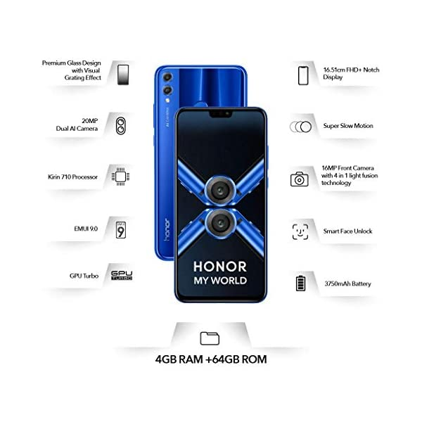 Honor 8X (Blue, 4GB RAM, 64GB Storage)