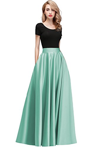 Long Mint (Honey Qiao Women's Satin Long Floor Length High Waist Prom Party Skirts (XL, Mint Green))