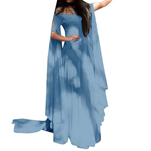 Sunyastor Renaissance Costumes Dress for Women Trumpet Sleeves Fancy Medieval Gothic Off Shoulder Cosplay Gown Dress Blue]()