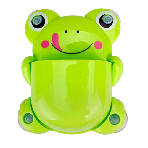 Oksale Toothbrush and Toothpaste Holder Mount Set ,Creative Frog Wall Suction Bathroom Organizer Cup with Sucker (Light Green)