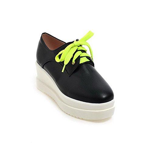 Amoonyfashion Damesschoenen Stevig Zacht Materiaal Kitten-hakken Veterschoen Vierkant Gesloten Teen Pumps-schoenen Zwart