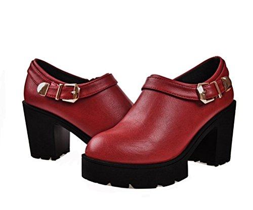 Dunhu Zapato De Vestir De Moda Para Mujer Zapato De Trabajo Informal De Cuero Elegante (rojo / Negro) Rojo