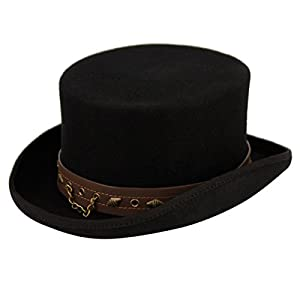 100% Wool Victorian Western Steampunk Costume Top Hat with Leather Band and Chain