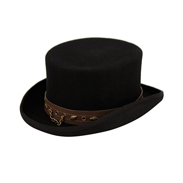 100% Wool Victorian Western Steampunk Costume Top Hat with Leather Band and Chain Black 4