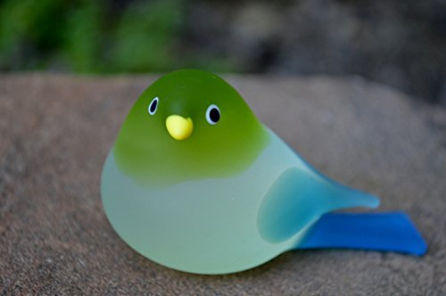 Chickadee Glass - Via Graceffo Murano Glass Chickadee Bird, Large, Light Green & Turquoise