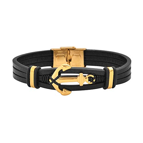 Magna Steel Men's Multi-Strand Genuine Leather Bracelet with Stainless Steel Anchor Pendant, Gold (Genuine Multi Strand)