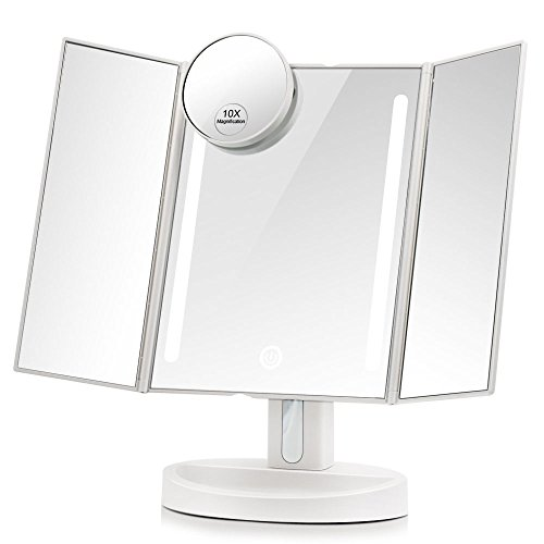 Leju Makeup Mirror   Natural Daylight Lighted Vanity Mirror With Touch Screen Dimming  Detachable 10X Magnification Spot Mirror  Two Power Supply Mode  White