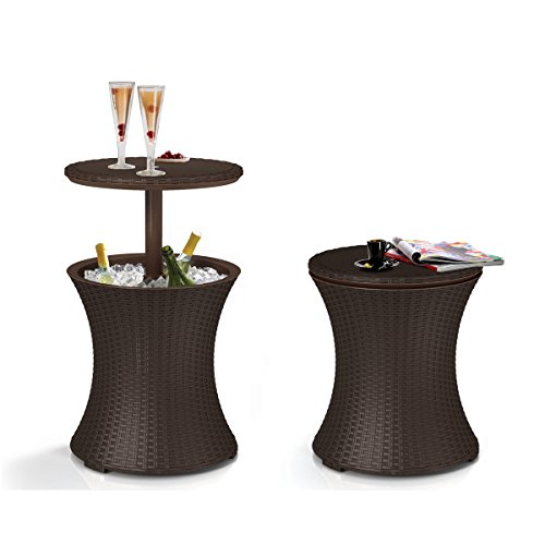 Cheap  Keter Pacific Cool Bar Brown Wicker Outdoor Ice Cooler Table