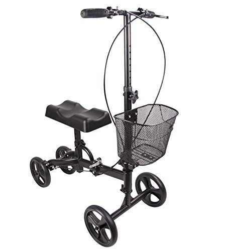 New Steerable Foldable Knee Walker Turning Brake Basket Drive Cart Crutch Alternative (Black)