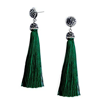 Thread Tassel Earrings Bohemian Statement Fringe Dangle Drop Earrings for Women Girls with Rhinestone Stud, Gifts for Mothers Day