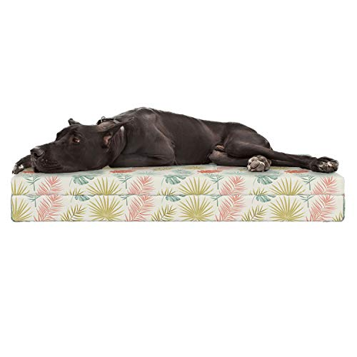 - Lunarable Botanical Dog Bed, Tropical Leaves Monstera Coconut Banana Palm Leaves Royal Fern Summer Vintage, Durable Washable Mat with Decorative Fabric Cover, 48