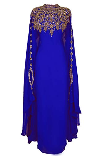 Womens Dress Couture (Covered Bliss Athena Kaftan for Women – Premium Design - 100% Chiffon with Eloquently Hidden Waist Strap -Elegant Ethnic Couture Long Sleeve Maxi Dress/Caftan with Alluringly Beautiful Gold Beads and)