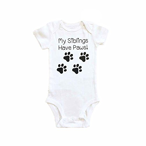 [Winzik Newborn Infant Baby Boys Girls Outfits My Siblings Have Paws Print Romper Jumpsuit Clothes T-shirt (0-6] (Christmas Outfits Baby)
