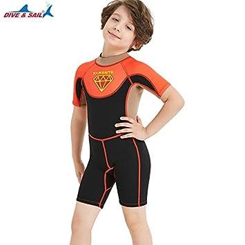 3e577c088dfb8 DIVE SAIL 2.5mm Kids Girls X-MANTA Swimwear Short-Sleeved Children Scuba  diving suit