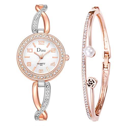 - SMALLE ◕‿◕ Hot Women Luxury Cross Watch Band Diamond Surround Watch Rose Pearl Bracelet Set-'Chain Watch' Line