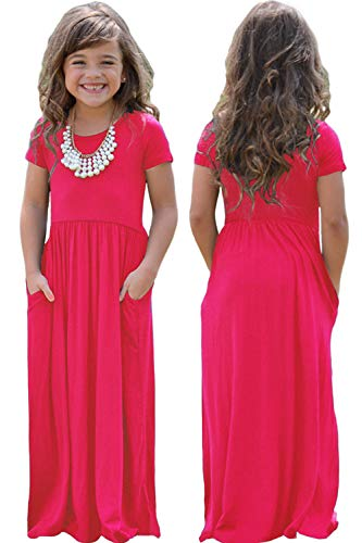 2019 Girls Maxi Dresses Casual Loose Short Sleeve Round Neck Solid Dress Pocket, 4-14 Years Old (Magenta, XXL(12-13))