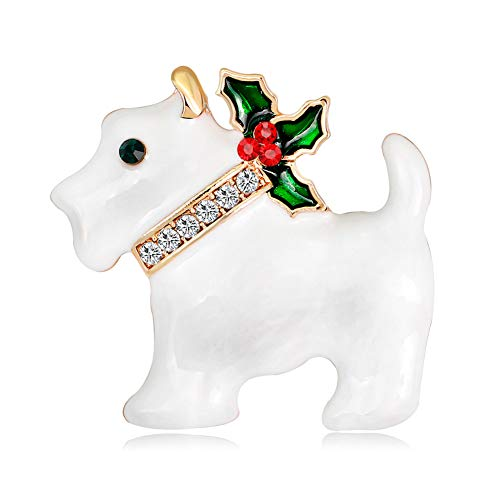 (Da.Wa Christmas Cartoon Dog Brooch Craft Element Corsage Gold Plated Alloy Brooch Pin for Coat Girlfriend Child Jewelry Gift White)