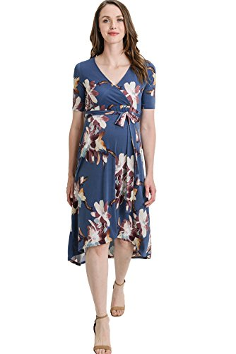 Hello MIZ Women's High-Low Surplice Wrap Maternity Dress with Waist Belt (Small, Denim Flower)