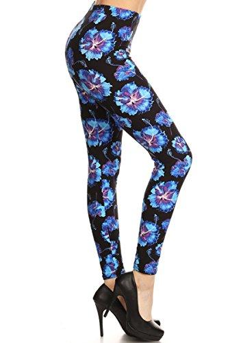 R604-PLUS Blue Hibiscus Print Fashion Leggings -