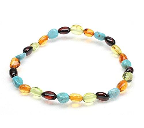 Amberbeata Cherry and Cognac Baltic Sea Amber, Green Caribbean Amber, Natural Turquoise Bracelet