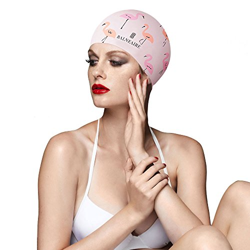 BALNEAIRE Silicone Long Hair Swim Cap for Women, UV Blocked &Waterproof Hand Painted Bird Print Pink