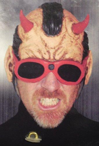 Devil ROCK 'N ROLL 3/4 Vinyl Halloween Costume Mask With MOHAWK & HORNS (Adult)