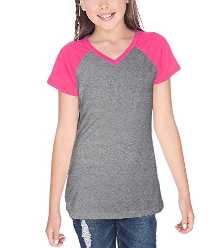6 Sheer Jersey Contrast V Neck Raglan Short Sleeve Dark Heather Gray/Watermelon Large (Sheer Kids Shirt)