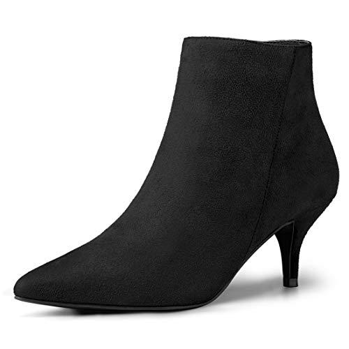 Image of Allegra K Women's Pointed Toe Zip Stiletto Kitten Heel Ankle Booties