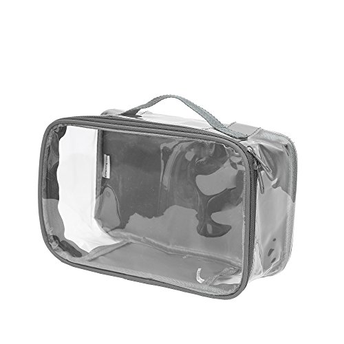 Clear Toiletry Makeup Bag, Cosmetic Organizer, Travel Case, PVC Plastic w/Handle (Gray)
