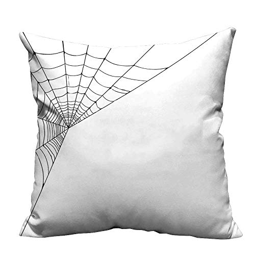 YouXianHome Decorative Couch Pillow Cases Web Icon Background Abstract Form Halloween Scary Evil Themed Illustration Black White Easy to Wash(Double-Sided Printing) 16x16 inch ()