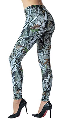 Ndoobiy Printed Leggings Basic Patterned Leggings Workout Leggings Women Girls Spandex Leggings L2 (Old Tree OS)