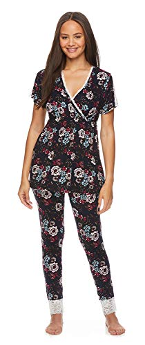 Lamaze Intimates Womens Maternity Short Sleeve Shirt and Skinny Leg Pajama Pants Set Deep Navy Large