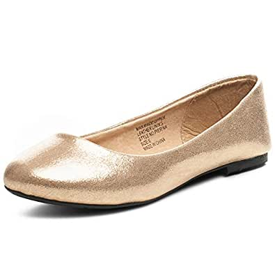 alpine swiss Pierina Women's Ballet Flats Leather Lined Classic Slip On Shoes GLD 6 Gold