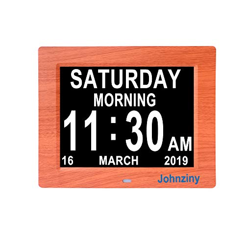 Johnziny Digital Calendar Day Clock- 8 Alarms Non-Abbreviated Day Month Dementia Alzheimer Memory Loss Vision Impaired Battery Backup Alarm Clock for Seniors Elderly with Play Video Photo Function ()