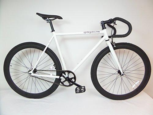 White And Black Fixie With Drop Bars Single Speed Fixie Bike