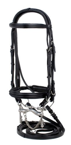 Double Bridle Dressage - Silverleaf Double Raised Padded Double Bridle with Crank Noseband - Size:Full Co